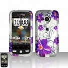 HTC Droid Eris S6200 Purple Flowers Case Cover Snap on Protector