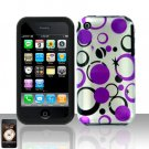 Purple Dots Silicon + Hard Cover Case Snap on Protector for Apple iPhone 3G 3GS