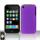 Purple Silicon + Hard Cover Case Snap on Protector for Apple iPhone 3G 3GS