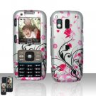 Pink Flowers Cover Case Snap on Protector for Samsung Rant M540