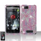 Motorola Droid X MB810 Pink Flowers Full Diamond Case Cover Snap on Protector