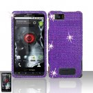 Motorola Droid X MB810 Purple Full Diamond Case Cover Snap on Protector