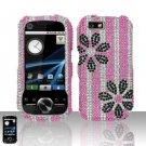 Black Flowers Design Diamond Hard Snap On Case Cover for Motorola i1