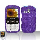 Purple Full Diamond Cover Case Snap on Protector for Samsung Freeform R350 R351