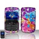 Blackberry Curve 8520 8530 Purple Design Cover Case Snap on Protector