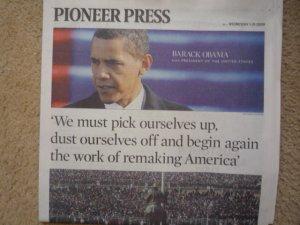 Pioneer Press Obama Inauguration Newspaper 1-21-2009 newspaper