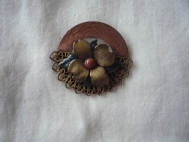 Vintage copper and brass flower pin brooch
