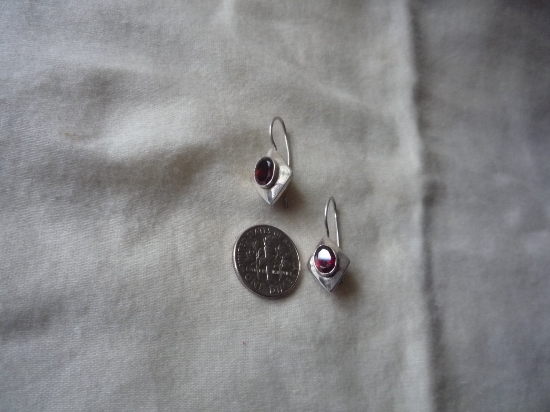 Garnet 925 sterling fish hook dangle earrings