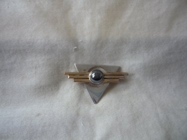 Modernistic sterling silver onyx pin brooch