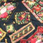 "Rayon/Blend Floral Print-VINTAGE FABRIC 1.1 Yd 28"" wide"