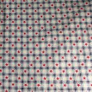 "Dark Blue Check,Stars-Cotton VINTAGE FABRIC 0.97 Yd 44""W"