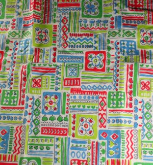 Kitchen Abstract Squares-Cotton VINTAGE FABRIC Fat Qtr