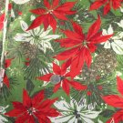 "Poinsettia Heavy Cotton VINTAGE FABRIC 1.94 Yd 50""W"