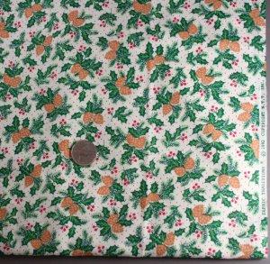 "Xmas Pine/Holly-Fabric Trad.VINTAGE FABRIC 2.67 Yd 45"""