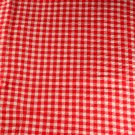"Seersucker-Cotton-Red Check VINTAGE FABRIC 0.9 Yd,38""W"