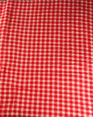 """Seersucker-Cotton-Red Check VINTAGE FABRIC 0.9 Yd,38""""W"""