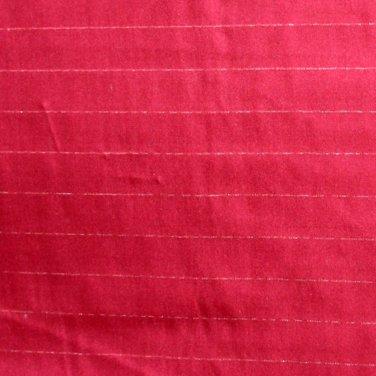 """Vintage Silk Shantung Fabric Burgundy & Silver Stripes 2 .53 Yd 42""""W"""