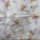 Leiters Floral Print Eyelet Cotton Pink,Yellow,Lavendar on White VINTAGE FABRIC 3.55 Yd 50""
