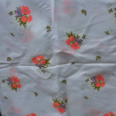 Leiters White with Lavendar Flowers Semi-Sheer Cotton Designer Fabric 2-3/4 Yd