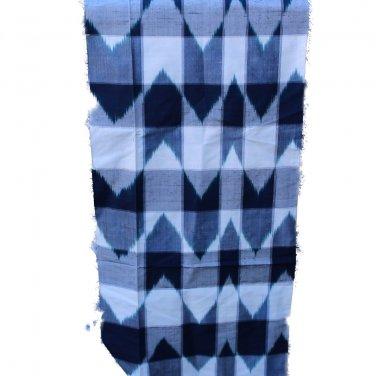 Japanese Meisen Kimono Ikat Style Blue & White VINTAGE FABRIC 88 x 15 & 11 Inches