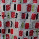 Japanese Meisen Kimono Geometric Red,Black,Green VINTAGE FABRIC 128 x 14 & 10 Inches