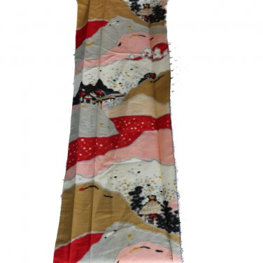 Japanese Meisen Kimono Silk Pink,Red,Grey VINTAGE FABRIC 122 x 14.5 Inches