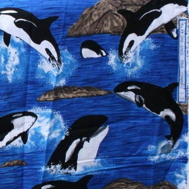 """C.S.Samash And Sons Inc 4450 Orca Cotton FABRIC 1.66 Yd 42""""W"""