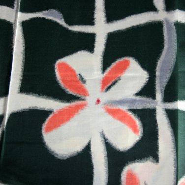 Japanese Meisen Kimono Orange/White Bow Silk VINTAGE FABRIC 123 x 14 Inches