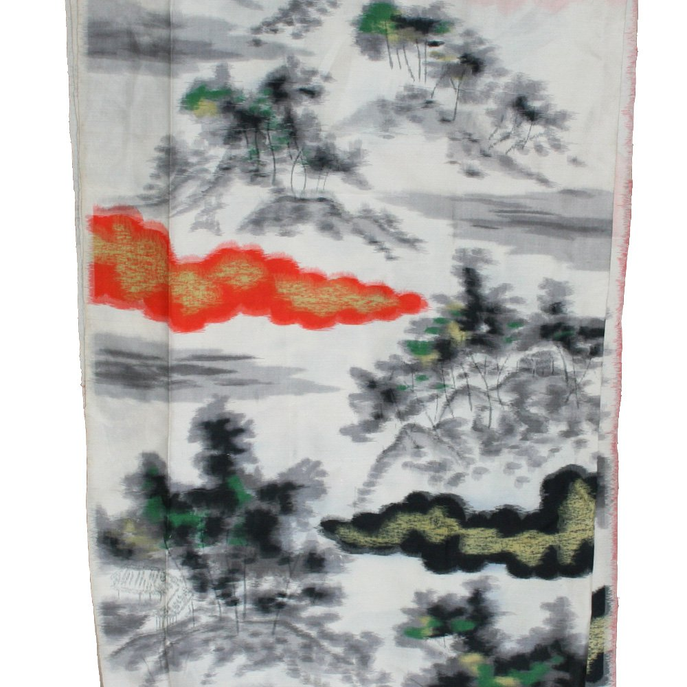 Japanese Meisen Kimono Silk Clouds & Trees VINTAGE FABRIC 116 x 14 Inches
