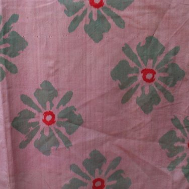 Japanese Meisen Kimono Silk Pink Green Abstract Flowers VINTAGE FABRIC 118 x 14 Inches