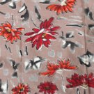 Japanese Meisen Kimono Silk Brown Daisy Floral VINTAGE FABRIC 116 x 14 Inches