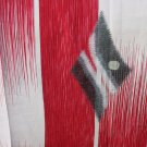 Japanese Meisen Kimono Silk Red,White,Silver Metallic Medallion VINTAGE FABRIC 121 x 14 Inches