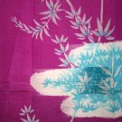 Japanese Meisen Kimono Silk Fuschia Pool VINTAGE FABRIC 67 x 13.5 Inches