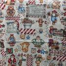 """Marcus Bros Dianna Marcum Cotton Fabric Happy Holidays Bear Print 1.94 Yd 44""""W"""