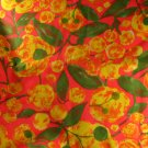 Mod Orange Floral Drapery Weight Cotton or Blend VINTAGE FABRIC 2.5 Yd 45'W