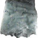 "Light Blue Sheer Embroidered Scallop Edge Chiffon Fabric 2 Yd, 56""W"