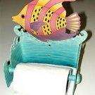 WHIMSICAL TROPICAL FISH METAL ART TOILET PAPER HOLDER