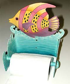WHIMSICAL TROPICAL FISH METAL ART TOILET PAPER HOLDER