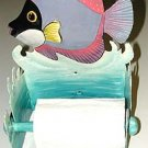 BLACK & PURPLE TROPICAL FISH METAL ART TOILET PAPER HOLDER