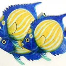 THREE BLUE RINGED ANGELFISH METAL WALL ART
