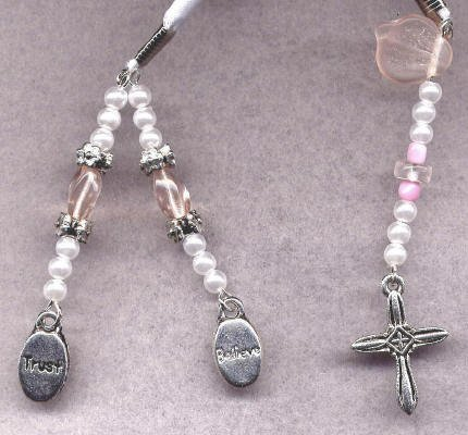 Bookmark Ribbon Beads Charm Cross 5