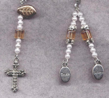 Bookmark Ribbon Beads Charm Cross 7