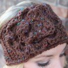 Headband Ear Warmer Crochet Brown Tweed  Head Wrap B2