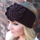 Headband Ear Warmer Crochet Head Wrap Brown D1