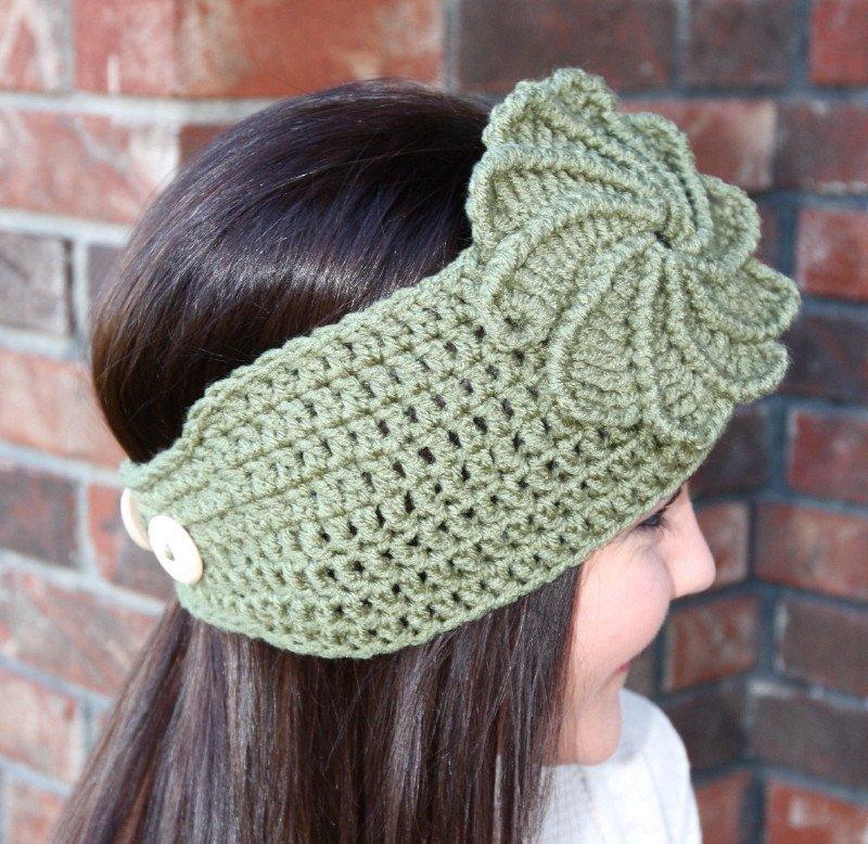 Headband Ear Warmer Crochet Green Twist Flower Head Wrap D2 How To Crochet Infinity Twist Wrap