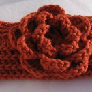 Headband Crochet Burnt Orange RidgeAround Flower Ear Warmer Head Wrap A3