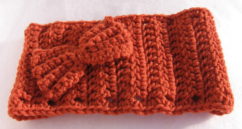 Headband Crochet Burnt Orange UPDown Bow Ear Warmer Head Wrap B5