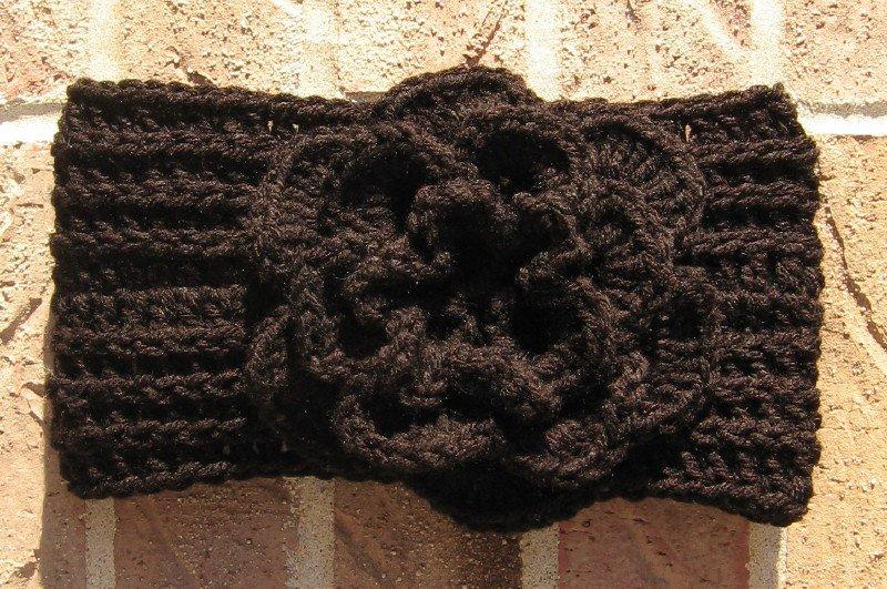 Headband Crochet Black RidgeAround Flower Ear Warmer Head Wrap A6