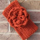 Headband Crochet Burnt Orange Flower Around Ear Warmer Head Wrap D3