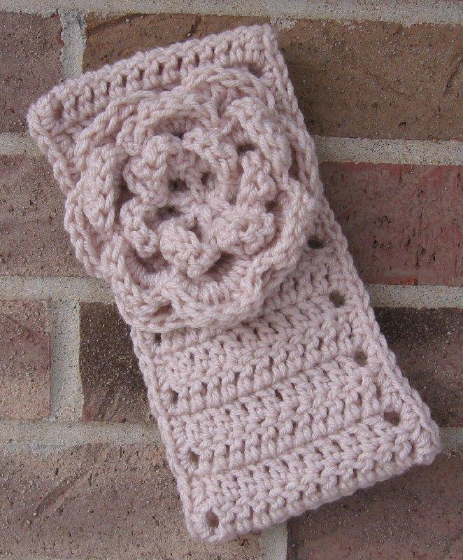 Headband Crochet Flower Linen UPDown Ear Warmer Head Wrap B10